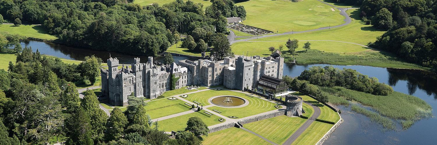 Ashford Castle view from above.